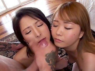 Threesome With Cute Japanese Babes & American Man