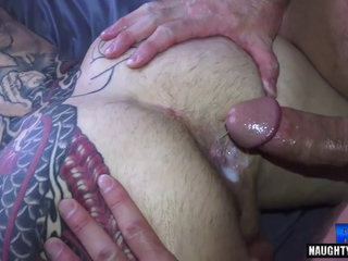 Tattoo gay anal sex with creampie
